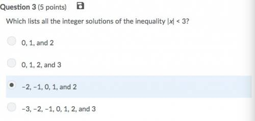 Which lists all the integer solutions of the inequality |x| < 3?