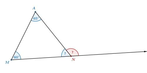 1) what is the measure of the exterior angle, ∠uvw ? 2) in triangle man, what is the measure of the